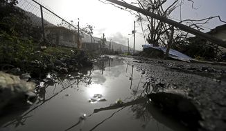 Downed power lines and debris are seen in the aftermath of Hurricane Maria in Yabucoa, Puerto Rico, Tuesday, Sept. 26, 2017. (AP Photo/Gerald Herbert)
