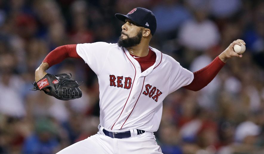 Boston Red Sox pitcher David Price delivers during the sixth inning of a baseball game against the Toronto Blue Jays at Fenway Park in Boston, Wednesday, Sept. 27, 2017. (AP Photo/Charles Krupa)