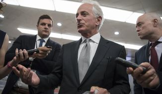 Sen. Bob Corker, R-Tenn., chairman of the Senate Foreign Relations Committee, chats with reporters at the Capitol in Washington, Tuesday, Sept. 26, 2017. Corker, a two-term senator, announced today that he will not run for re-election in 2018. (AP Photo/J. Scott Applewhite)