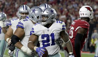 Dallas Cowboys running back Ezekiel Elliott (21) celebrates his touchdown against the Arizona Cardinals during the second half of an NFL football game, Monday, Sept. 25, 2017, in Glendale, Ariz. (AP Photo/Rick Scuteri) **FILE**