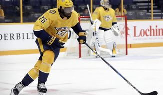 In this Sept. 19, 2017 photo, Nashville Predators defenseman P.K. Subban (76) plays against the Florida Panthers during an NHL hockey preseason game in Nashville, Tenn. With their good playoff record at home last season, the Predators know a higher seed and more home games will help their chances at the Stanley Cup. (AP Photo/Mark Humphrey)