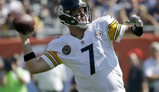 Pittsburgh Steelers quarterback Ben Roethlisberger (7) throws during the first half of an NFL football game against the Chicago Bears, Sunday, Sept. 24, 2017, in Chicago. (AP Photo/Nam Y. Huh)