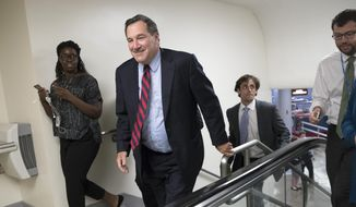 In this photo from Thursday, July 27, 2017, Sen. Joe Donnelly, D-Ind., heads to the Senate floor at the Capitol in Washington. (AP Photo/J. Scott Applewhite, file)