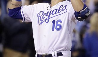 Kansas City Royals' Paulo Orlando celebrates his two-run home run during the seventh inning of a baseball game against the Detroit Tigers on Wednesday, Sept. 27, 2017, in Kansas City, Mo. (AP Photo/Charlie Riedel)