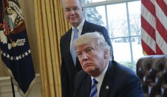 FILE - In this March 24, 2017 file photo, President Donald Trump with Health and Human Services Secretary Tom Price are seen in the Oval Office of the White House in Washington. Congress is launching a wide-ranging examination of air travel by high-ranking Trump administration officials. The House Oversight and Government Reform committee is following up on reports that health secretary Tom Price used pricey charters when cheaper commercial flights would have done.  (AP Photo/Pablo Martinez Monsivais, File)