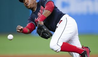 Cleveland Indians' Jose Ramirez throws out Minnesota Twins' Jorge Polanco at first base during the sixth inning in a baseball game, Wednesday, Sept. 27, 2017, in Cleveland. (AP Photo/Ron Schwane)