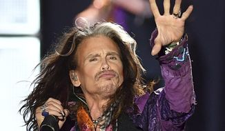 In this May 26, 2017, file photo, singer Steven Tyler performs during a concert of Aerosmith at the Koenigsplatz in Munich, Germany. Aerosmith singer Tyler says he has returned to the United States for medical care and the band is canceling the last four shows of its tour in South America. Tyler said on social media Tuesday, Sept. 26, 2017, that he flew back to the U.S. on Monday night after a show in Sao Paulo, Brazil. AP Photo/Lukas Barth, File)