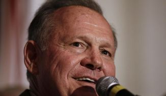 Former Alabama Chief Justice and U.S. Senate candidate Roy Moore speaks during his election party, Tuesday, Sept. 26, 2017, in Montgomery, Ala. Moore won the Alabama Republican primary runoff for U.S. Senate on Tuesday, defeating an appointed incumbent backed by President Donald Trump. (AP Photo/Brynn Anderson)