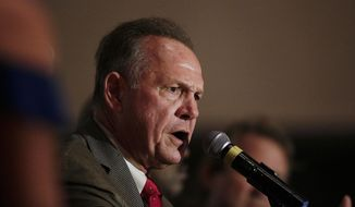 Former Alabama Chief Justice and U.S. Senate candidate Roy Moore during speaks during his election party, Tuesday, Sept. 26, 2017, in Montgomery, Ala. Moore won the Alabama Republican primary runoff for U.S. Senate on Tuesday, defeating an appointed incumbent, Sen. Luther Strange, backed by President Donald Trump and allies of Sen. Mitch McConnell. (AP Photo/Brynn Anderson)