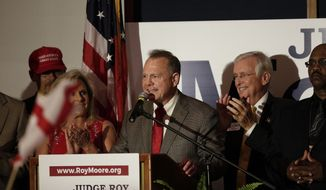 Former Alabama Chief Justice and U.S. Senate candidate Roy Moore speaks during his election party, Tuesday, Sept. 26, 2017, in Montgomery, Ala. Moore won the Alabama Republican primary runoff for U.S. Senate on Tuesday, defeating an appointed incumbent backed by President Donald Trump and allies of Sen. Mitch McConnell. (AP Photo/Brynn Anderson)