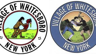 "This photo shows the old seal, left, and the new rendering of the seal of the village of Whitesboro, N.Y. The Oneida County village worked with an art student to replace the original 40-year-old seal that depicted founder Hugh White wrestling an American Indian, that was ridiculed by Comedy Central's ""The Daily Show.""  Meant to commemorate a friendly wrestling match between White and a member of the local Oneida tribe, the image appeared to show a white man choking an Indian.  The new seal maintains the wrestling match theme but with better graphics and more historically correct attire for the two men engaged in the wrestling match. (Village of Whitesboro, N.Y. via AP)"
