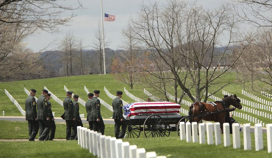 FILE - In this April 13, 2009, file photo, a single-horse caisson carries the casket of Lloyd Stidham to his grave-side service at Camp Nelson National Cemetery in Camp Nelson, Ky. U.S. Interior Secretary Ryan Zinke is recommending President Donald Trump create three new monuments, of which Camp Nelson is one, in Montana, Kentucky and Mississippi. (David Stephenson/Lexington Herald-Leader via AP, File)