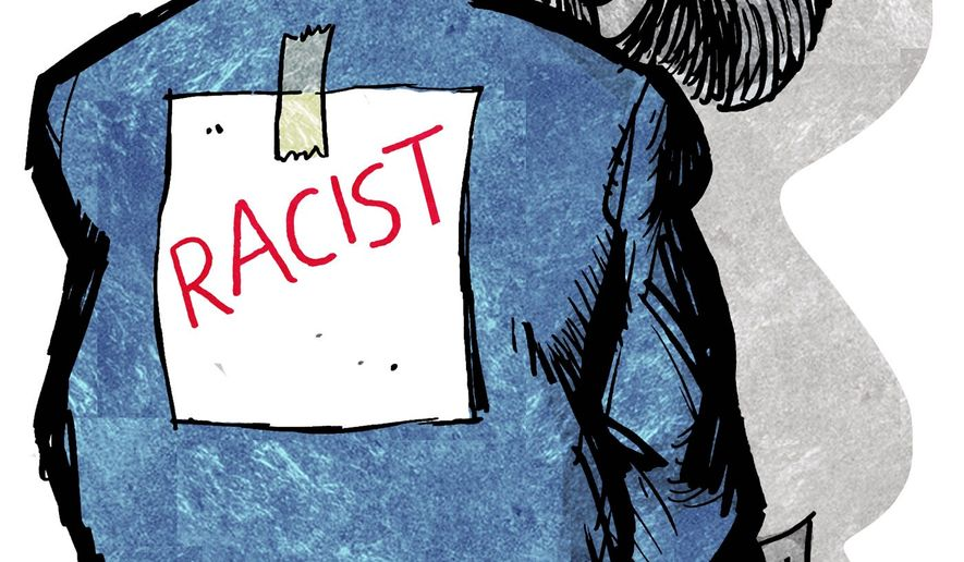 Illustration on the left's use of the race card against Republicans by Alexander Hunter/The Washington Times