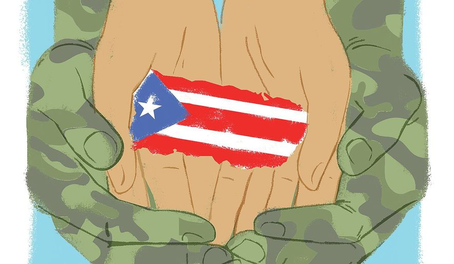 Illustration on military's relief work in Puerto Rico by Linas Garsys/The Washington Times