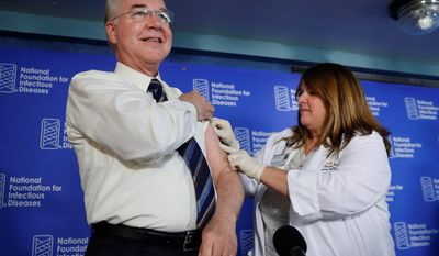 """""""The stakes are very serious,"""" Health and Human Services Secretary Thomas Price (left). """"Each flu season, flu causes millions of illnesses, hundreds of thousands of hospitalizations and thousands, sometimes tens of thousands of deaths,"""" Mr. Price said. (Associated Press)"""