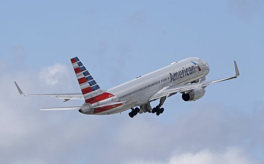 FILE - In this Friday, June 3, 2016, file photo, an American Airlines passenger jet takes off from Miami International Airport in Miami. American Airlines CEO Doug Parker said Thursday, Sept. 28, 2017, that the once-volatile industry has changed so radically that his company will never lose money again. Even in a bad year, Parker says, the world's biggest airline should earn about $3 billion in profit before taxes. (AP Photo/Alan Diaz, File)