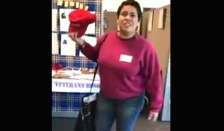 "University of California, Riverside student Edith Macias is caught on film stealing a man's ""Make America Great Again"" hat and telling school officials that ""f-ing freedom of speech is genocide."" The video was sent to the educational watchdog Campus Reform on Sept. 28, 2017. (Image: YouTube, Campus Reform) ** FILE **"