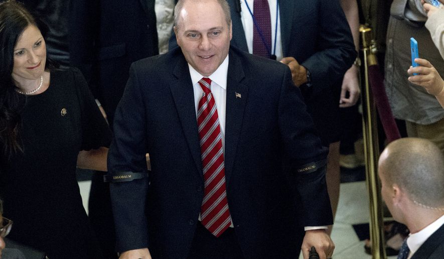 House Republican Whip Steve Scalise walks with his wife Jennifer as he leaves the House chamber in the Capitol in Washington, Thursday, Sept. 28, 2017. To hugs and a roaring bipartisan standing ovation, Scalise returned to the House, more than three months after a baseball practice shooting left him fighting for his life.( AP Photo/Jose Luis Magana)