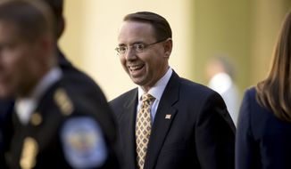 Deputy Attorney General Rod Rosenstein arrives for a ceremony for FBI Director Chris Wray at the FBI Building, Thursday, Sept. 28, 2017, in Washington. Wray was formally installed as the new FBI director.  (AP Photo/Andrew Harnik)