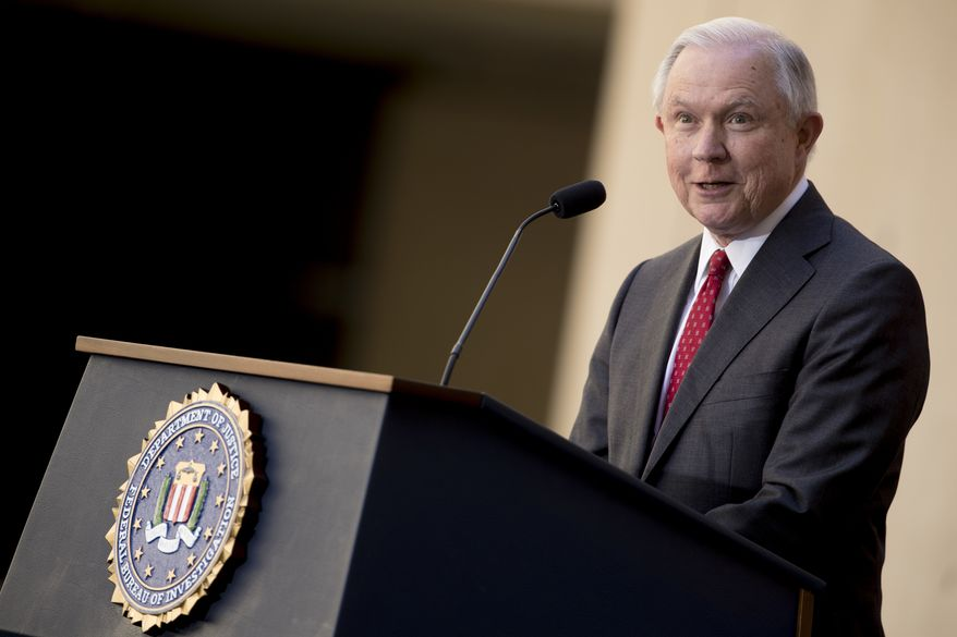 Attorney General Jeff Sessions speaks at a ceremony for FBI Director Christopher Wray at the FBI Building, Thursday, Sept. 28, 2017, in Washington. (AP Photo/Andrew Harnik) ** FILE **