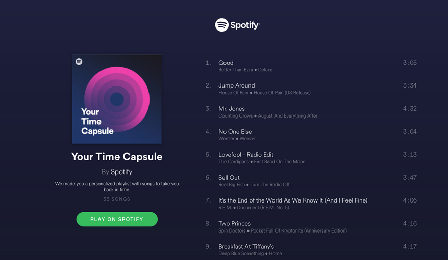 A screen capture of a Your Time Capsule playlist generated by Spotify for Washington Times digital writer Ken Shepherd. Spotify unveiled the new personalized algorithm-created playlist for its users on Thursday, Sept. 28, 2017. (Ken Shepherd/Spotify)