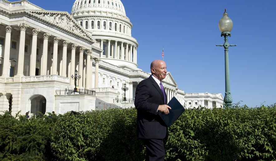 House Ways & Means Chairman Rep. Kevin Brady, R-Texas, arrives for a news conference with the National Taxpayers Union and the Taxpayers Protection Alliance on Capitol Hill in Washington, Thursday, Sept. 28, 2017. (AP Photo/Jose Luis Magana) ** FILE **