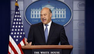 White House chief economic adviser Gary Cohn speaks during the daily press briefing, Thursday, Sept. 28, 2017, in Washington. (AP Photo/Evan Vucci) ** FILE **