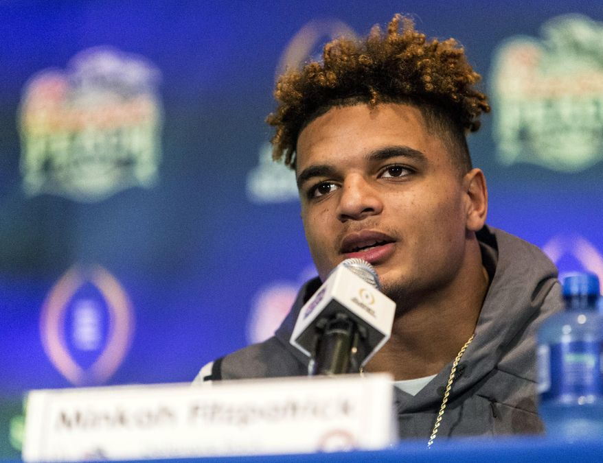 FILE - In this Dec. 27, 2016, file photo, Alabama defensive back Minkah Fitzpatrick (29) talks with the media during a press conference for the Peach Bowl NCAA college football game at Hyatt Regency Atlanta in Atlanta, Ga. Goal-oriented since he was 6 and matured beyond his years by a disaster that left his family homeless as he started high school in New Jersey, Fitzpatrick has mastered Nick Saban's process. He sees the game like his coach, leads by example and has become maybe the most versatile defensive player to ever play for Saban. (Vasha Hunt/AL.com via AP, File)