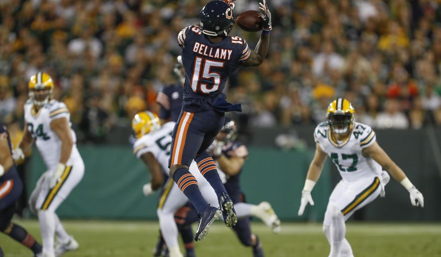 Chicago Bears' Josh Bellamy catches a pass during the first half of an NFL football game against the Green Bay Packers Thursday, Sept. 28, 2017, in Green Bay, Wis. (AP Photo/Matt Ludtke)