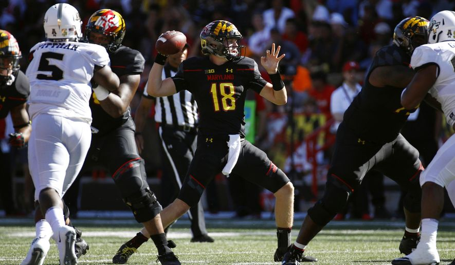 FILE - In this Saturday, Sept. 23, 2017, file photo, Maryland quarterback Max Bortenschlager (18) throws to a receiver during the first half of an NCAA college football game against Central Florida in College Park, Md. Maryland had lost starting quarterback Kasim Hill with a torn ACL in his right knee. (AP Photo/Patrick Semansky, File)