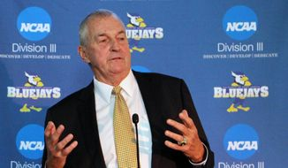 Hall of Fame basketball coach Jim Calhoun speaks after he was introduced at the University of Saint Joseph in West Hartford, Conn. on Thursday, Sept. 28, 2017. Calhoun is coming out of retirement to build a men's basketball program at the Division III school, which will admit men for the first time next fall. (AP Photo/Pat Eaton-Robb) **FILE**