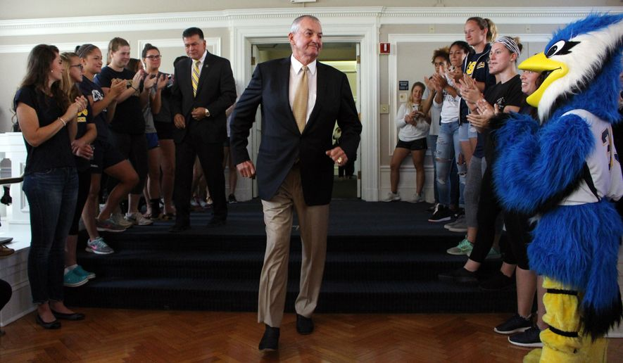 Hall of Fame basketball coach Jim Calhoun is introduced at the University of Saint Joseph in West Hartford, Conn. on Thursday, Sept. 28, 2017. Calhoun is coming out of retirement to build a men's basketball program at the Division III school, which will admit men for the first time next fall. (AP Photo/Pat Eaton-Robb)