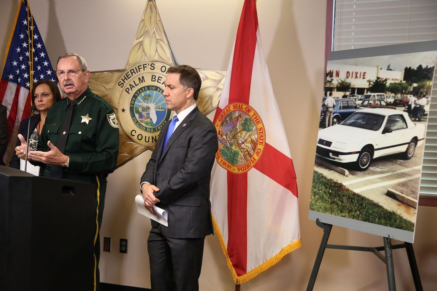 Palm Beach County Sheriff Ric Bradshaw speaks during a news conference in this file photo from Sept. 28, 2017, in West Palm Beach, Fla. Sheriff Bradshaw testified on March 26, 2019 before the U.S. Senate Judiciary Committee that the gunman who killed 17 people at Marjory Stoneman Douglas High School last February could have been flagged if Florida's law that allows for the suspension of gun rights of potentially dangerous individuals had been in place at the time. (Amy Beth Bennett/South Florida Sun-Sentinel via AP) **FILE**