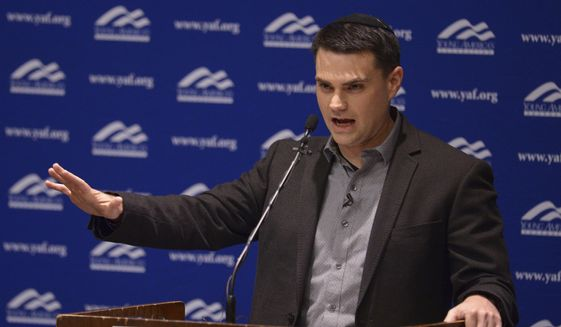 Conservative commentator Ben Shapiro, editor-in-chief of The Daily Wire, addresses the student group Young Americans for Freedom at the University of Utah's Social and Behavioral Sciences Lecture Hall, Wednesday, Sept. 27, 2017, in this file photo. On Nov. 20, 2017. (Leah Hogsten/The Salt Lake Tribune via AP, Pool)