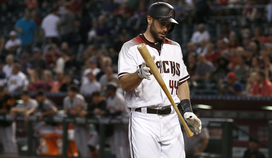 Arizona Diamondbacks' Paul Goldschmidt flips his bat after striking out against the San Francisco Giants during the first inning of a baseball game Wednesday, Sept. 27, 2017, in Phoenix. (AP Photo/Ross D. Franklin)
