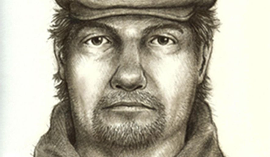 FILE - This composite sketch released Monday, July 17, 2017, by the Indiana State Police shows the man they consider the main suspect in the killings of two teenage girls who disappeared from a hiking trail near their hometown of Delphi in northern Indiana on Feb., 13. Indiana investigators are looking into whether a man arrested for allegedly threatening people along a Colorado hiking trail could be a suspect in the February killings of the girls. State Police Sgt. Kim Riley says the agency is speaking with Colorado authorities about Daniel Nations to determine if he could be a suspect in the killings.  (Indiana State Police via AP, File)