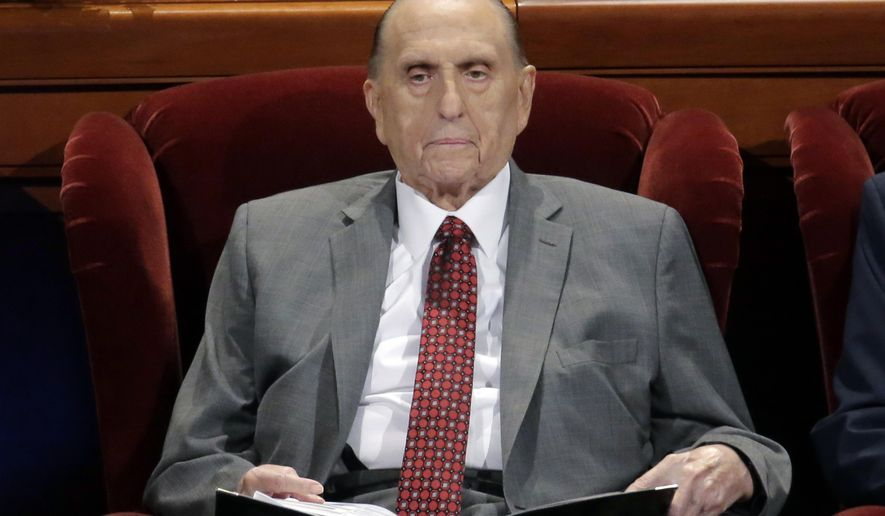 FILE - This April 1, 2017 file photo shows Thomas M. Monson, president of the Church of Jesus Christ of Latter-day Saints, at the two-day Mormon church conference in Salt Lake City. Monson won't attend this weekend's church conference in Salt Lake City due to his ailing health--church authorities confirmed Thursday, Sept. 28, 2017, that the 90-year-old Monson will miss the twice-yearly conference and referred to church's May, 2017, statement that Monson is no longer coming to meetings at church offices regularly because of limitations related to his age.(AP Photo/Rick Bowmer, File)