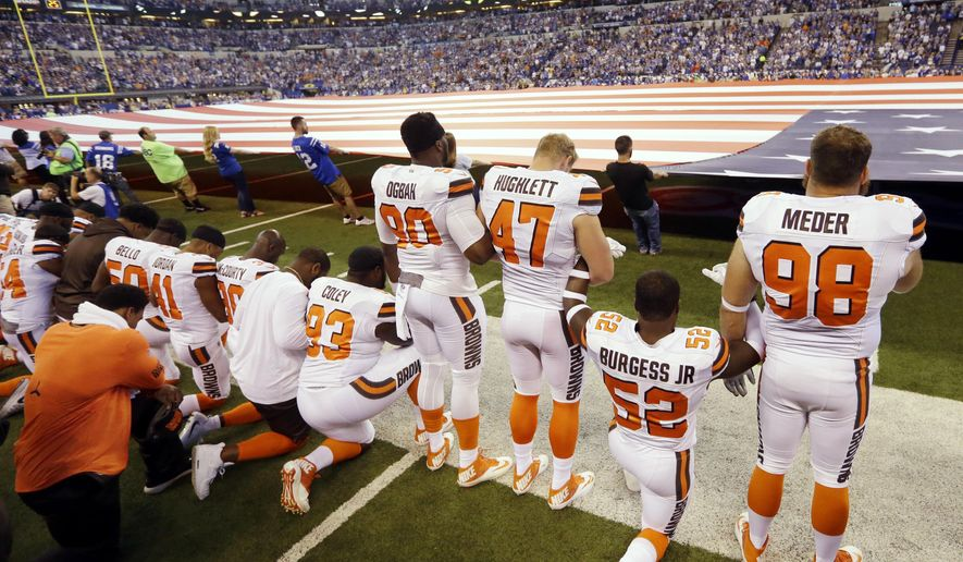 "In this Sunday, Sept. 24, 2017, file photo, members of the Cleveland Browns take a knee during the national anthem before an NFL football game against the Indianapolis Colts in Indianapolis. The NFL says the message players and teams are trying to express is being lost in a political firestorm. NFL spokesman Joe Lockhart said Thursday, Sept. 28, 2017, that it is important for ""everyone to understand what they are talking about, to not see everything in terms of who is up or down politically.""  (AP Photo/Michael Conroy, File)"