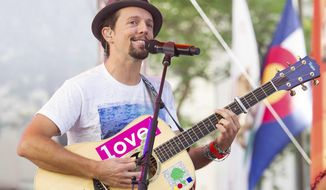 """FILE - In this July 18, 2014 file photo, Jason Mraz performs on NBC's """"Today"""" show in New York. Mraz will make his Broadway debut in the hit musical """"Waitress,"""" starting Nov. 3. (Photo by Charles Sykes/Invision/AP, File)"""