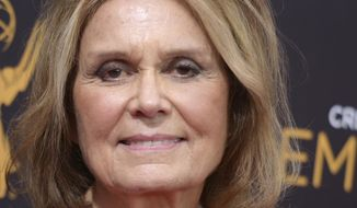 FILE - In this Sept. 11, 2016 file photo, Gloria Steinem arrives at night two of the Creative Arts Emmy Awards at the Microsoft Theater in Los Angeles. The Victim Rights Law Center says it's presenting its 2017 Leadership Award to the renowned author, journalist and activist at the federal courthouse in Boston on Thursday, Sept. 28, 2017. (Photo by Richard Shotwell/Invision/AP, File)