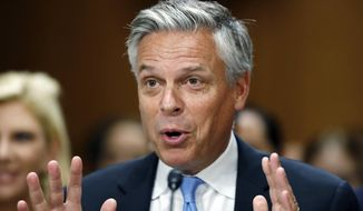 In this Sept. 19, 2017, photo, Jon Huntsman testifies during a hearing of the Senate Foreign Relations Committee on his nomination to become the U.S. ambassador to Russia, on Capitol Hill in Washington. The Senate confirmed the nomination of Huntsman to serve as U.S. ambassador to Russia. Senators approved his selection by voice vote on Sept. 28. (AP Photo/Alex Brandon, File)