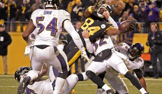 FILE - In this Dec. 25, 2016, file photo, Pittsburgh Steelers wide receiver Antonio Brown (84) reaches the ball across the goal line for a touchdown during the second half of an NFL football game against the Baltimore Ravens in Pittsburgh. The score capped a 21-point fourth quarter for the Pittsburgh Steelers, who clinched the AFC North title with a 31-27 victory over the Baltimore Ravens, whose playoff hopes ended with a bitter defeat against their longtime rivals. The two teams meet on Sunday. (AP Photo/Fred Vuich, File)