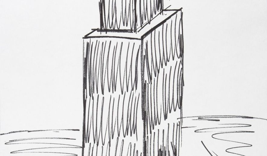This image provided by Julien's Auctions shows a sketch of the Empire State Building drawn by President Donald Trump that is going up for auction on Oct. 19, 2017. The marker depiction of the iconic New York City skyscraper was created by Trump for a charity auction in Florida during the time he opened his Mar-a-Lago estate as a private club in 1995. (Julien's Auctions via AP)