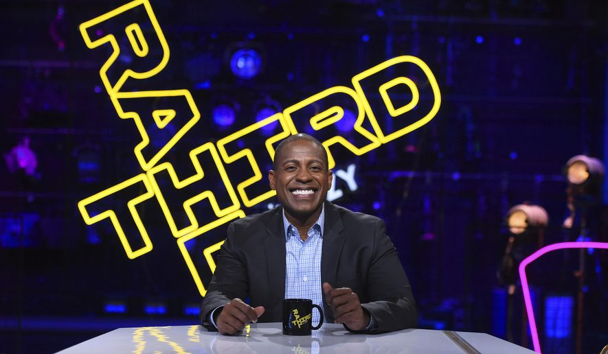 """This Sept. 7, 2017 photo released by PBS shows Carlos Watson, host of """"Third Rail with OZY,"""" airing Fridays on PBS. (Meredith Nierman/PBS-WGBH via AP)"""