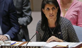 United Nations Ambassador from U.S. Nikki Haley address U.N. Security Council meeting on Myanmar's Rohingya crisis, Thursday Sept. 28, 2017 at U.N. headquarters. (AP Photo/Bebeto Matthews)