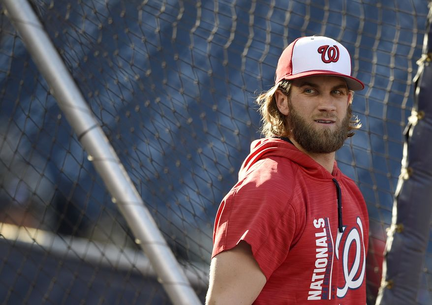 Washington Nationals' Bryce Harper looks on during batting practice before a baseball game against the Pittsburgh Pirates, Friday, Sept. 29, 2017, in Washington. (AP Photo/Nick Wass) ** FILE **