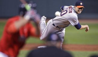 Houston Astros starter Charlie Morton watches a pitch during the first inning of a baseball game against the Boston Red Sox at Fenway Park in Boston, Friday, Sept. 29, 2017. (AP Photo/Charles Krupa)