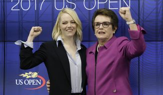 """In this Sept. 9, 2017 photo, actress Emma Stone, left, and Billie Jean King pose for photos after a news conference discussing the upcoming film """"Battle of the Sexes'"""" in New York. The story of the early days of the tour and King's fight for equal prize money is chronicled in the movie """"Battle of the Sexes,"""" which opened nationwide on Friday.   (AP Photo/Julio Cortez)"""