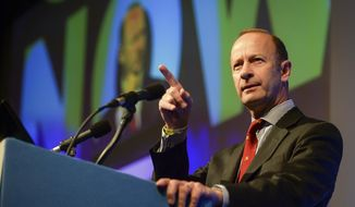 Henry Bolton, who has been elected as the new party leader of Britain's UK Independence Party speaks during the UKIP National Conference  in Torquay England Friday Sept. 29, 2017. (Ben Birchall/PA via AP)