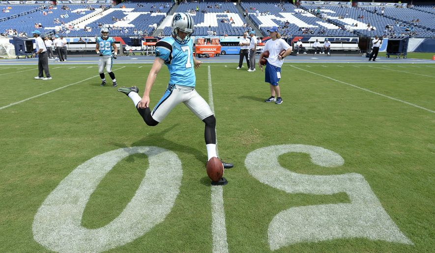 FILE - In this Aug. 19, 2017, file photo, Carolina Panthers kicker Harrison Butker warms up before an NFL football preseason game against the Tennessee Titans in Nashville, Tenn. The Kansas City Chiefs have placed kicker Cairo Santos on injured reserve and claimed rookie kicker Harrison Butker off the Carolina Panthers' practice squad, the Chiefs announced Tuesday, Sept. 26, 2017. (AP Photo/Mark Zaleski, File)